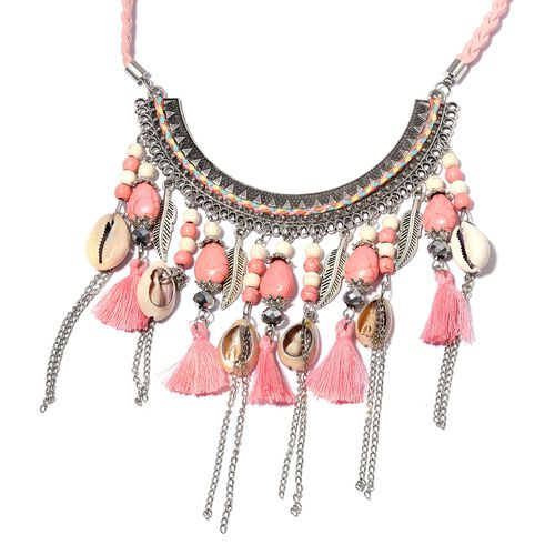 Pink Howlite, White Howlite, Natural Colour Shell, Simulated Grey Moonstone and Multi Colour Beads BIB Necklace (Size 22) in Silver Bond.