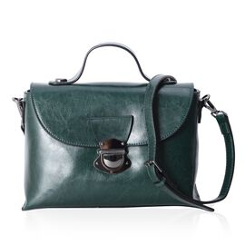 100% Genuine Leather Dark Green Colour Cross Body Bag with Removable Shoulder Strap (Size 27x18.5x11 Cm)
