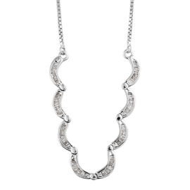 Diamond (Bgt) Adjustable Necklace (Size 18) in Platinum Overlay Sterling Silver 0.505  Ct.