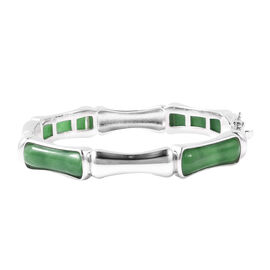 34.50 Ct AAA Green Jade Bamboo Design Bangle in Rhodium Plated Sterling Silver 33.30 Grams 7.5 Inch
