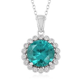 ELANZA Simulated Paraiba Tourmaline (Rnd), Simulated Diamond Pendant With Chain (Size 18) in Rhodium