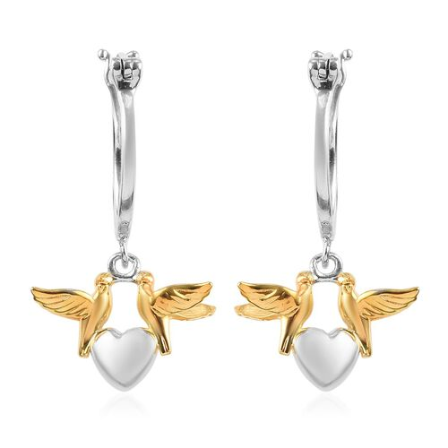 Platinum and Yellow Gold Overlay Sterling Silver Bird Heart Earrings (with Clasp), Silver wt 5.00 Gm