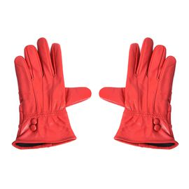 100% Genuine Leather Gloves (Size 9x23 Cm) - Red