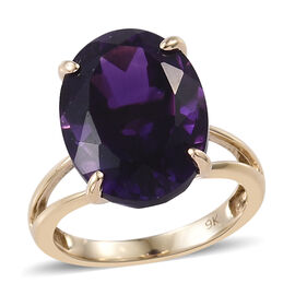 9K Yellow Gold AAA Extremely Rare Size Moroccan Amethyst (Ovl 16x12 mm) Ring 8.500 Ct.