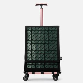 FARINO Unique Top-Loading Bag On 360 Rollerblade Spinner Wheel in Green and Rose Gold