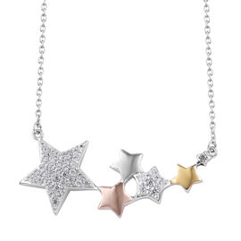 Natural Cambodian Zircon (Rnd) Star Necklace (Size 18) in Platinum, Yellow and Rose Gold Overlay Ste
