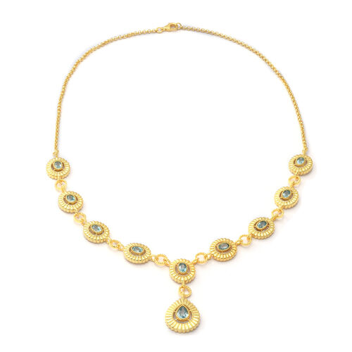 Ratanakiri Blue Zircon Necklace (Size 21) in Yellow Gold Overlay Sterling Silver 7.98 Ct, Silver wt.