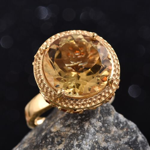 GP Citrine (Rnd 14 mm), Jalisco Fire Opal and Blue Sapphire Ring in 14K Gold Overlay Sterling Silver 8.250 Ct.