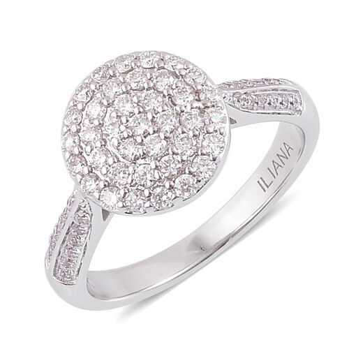 ILIANA 18K White Gold IGI Certified Diamond (Rnd), (SI/G-H) Ring 0.500 Ct.