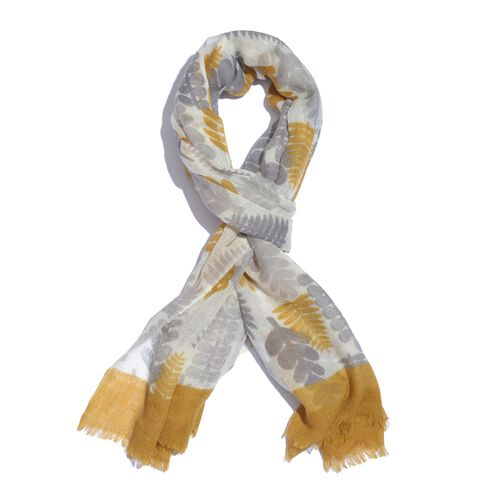 100% Merino Wool Apricot, Grey and White Colour Printed Scarf with Fringes (Size 180X70 Cm)
