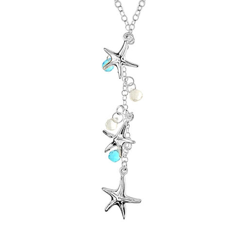 Starfish with Turquoise and White Crystal Charm Necklace in Sterling Silver 17 Inch
