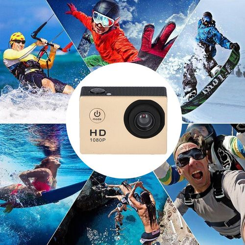 1080P HD TFT Screen Action Camera with 100 Degree Wide Angle - Rose Gold