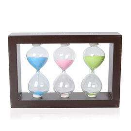 Home Decor - MDF Frame Hourglass 1,3 and 5 Min with Multi Colour Sand (Size 17x10x4 Cm) - Blue, Pink