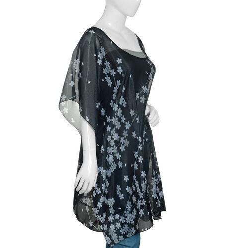 Designer Inspired - Black and White Colour Flower Pattern Kaftan (Size 90x65 Cm)