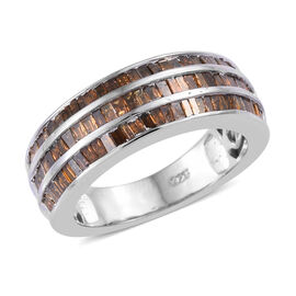 0.75 Ct Red Diamond 3 Row Eternity Band Ring in Platinum Plated Sterling Silver 6.17 Grams