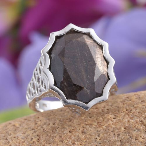 Natural Zawadi Golden Sheen Sapphire (Ovl) Ring in Platinum Overlay Sterling Silver 22.250 Ct.