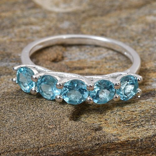 Paraibe Apatite Five-Stone Ring in Sterling Silver 1.25 Ct.