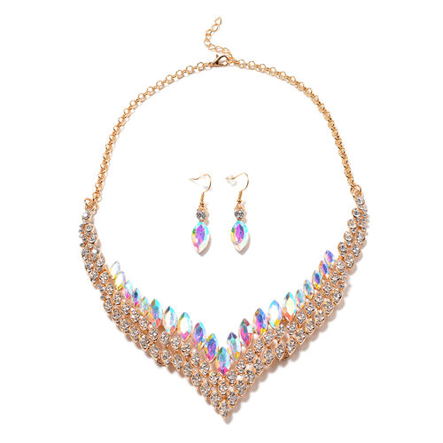 2 Piece Set - Simulated Mercury Mystic Topaz and White Austrian Crystal Necklace (Size 22 with 2 inc