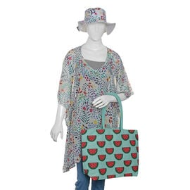 100% Cotton Off White, Red and Multi Colour Flower and Leaves Pattern Apparel (Size Free), Cap (Size