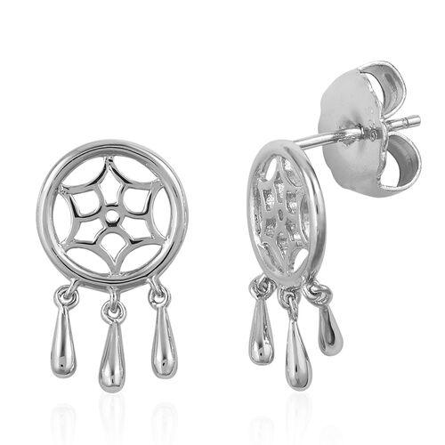 LucyQ Dreamcatcher Earrings (with Push Back) in Rhodium Plated Sterling Silver