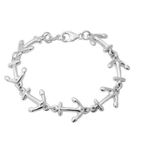 Anchor Bracelet in Thai Sterling Silver with Lobster Clasp 12.17 Grams 7.5 Inch
