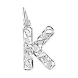 Artisan Crafted Polki Diamond Initial K Pendant in Platinum Overlay Sterling Silver 0.50 Ct.