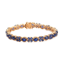 GP Masoala Sapphire (Ovl and Pear), Blue Sapphire Floral Bracelet (Size 8) in 14K Gold Overlay Sterl