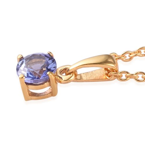 2 Piece Set - Tanzanite Pendant with Chain (Size 18) and Stud Earrings (with Push Back) in 14K Gold Overlay Sterling Silver 1.50 Ct.