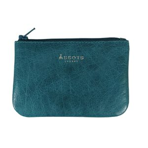 Assots London Poppy Ocean Blue Full Grain Leather Zip Top Coin Purse (Navigation Fashion Accessories Handbags) photo
