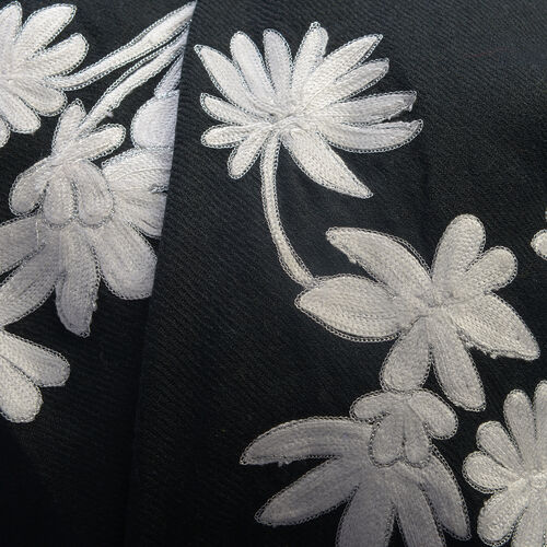 100% Merino Wool Black and Silver Colour Embroidered Floral Shawl (Size 200x70 Cm)