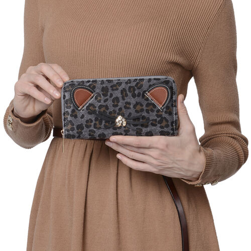 Grey Leopard Pattern with Ears and Nose Details Clutch Wallet (Size 19.5x3x9.5cm) with Zipper Closure in Gold Tone