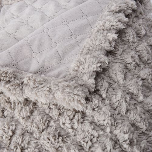 Supersoft Fine Micro- Light Grey Colour Mink Blanket with Matching Colour Sherpa BACKING and Ultrasonic Quilting in Colour  (Double Bed - 150x200 Cm)