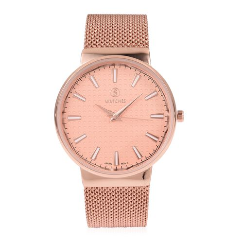 STRADA Japanese Movement Water Resistant Rose Gold Colour Dial Watch with Rose Gold Strap