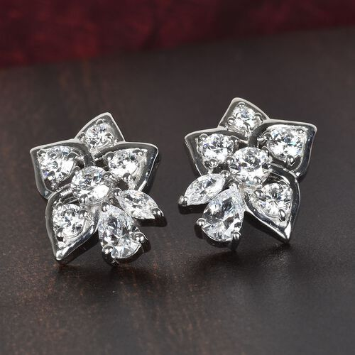 J Francis Platinum Overlay Sterling Silver Made with SWAROVSKI ZIRCONIA Floral Stud Earrings (with Push Back) 2.50 Ct.