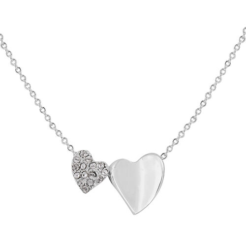 ETERNITY Crystal from Swarovski Double Heart Necklace (Size 18 with 2 inch Extender) in Silver Tone