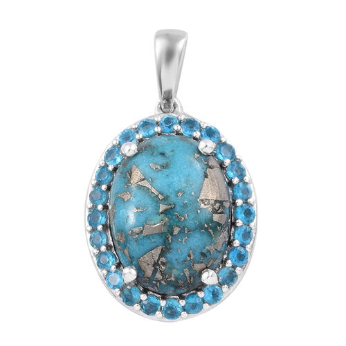 10.50 Ct Persian Turquoise and Neon Apatite Halo Pendant in Platinum Plated Sterling Silver