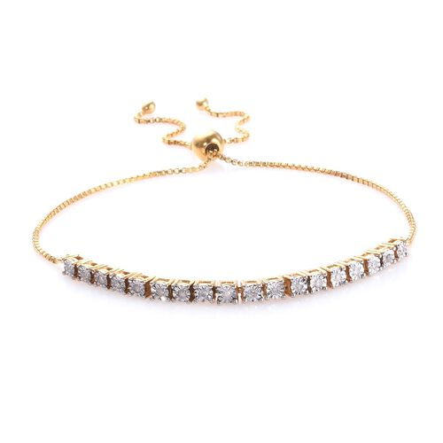 Diamond (Rnd) Adjustable Bolo Bracelet (Size 6.5 -9.5) in 14K Gold and Platinum Overlay Sterling Silver 0.25 Ct., Silver wt 4.94 Gms.