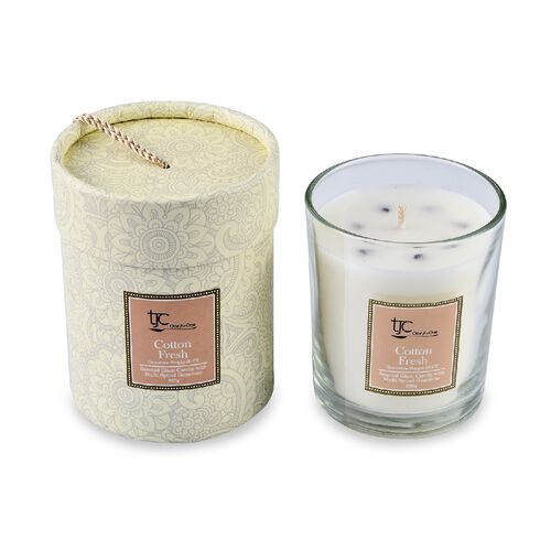 Home Decor - Fresh Cotton Flower Scented Glass Candle with Multi Spinel Carat wt 20.00 ct. (Size 8.2
