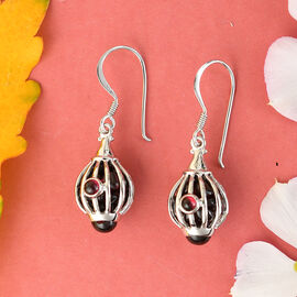 Sajen Silver GEM HEALING Collection - Mozambique Garnet Hook Earrings in Rhodium Overlay Sterling Silver 10.50  Ct.