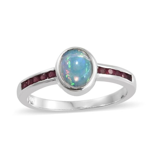 Ethiopian Welo Opal (Ovl), African Ruby Ring in Sterling Silver 1.250 Ct.