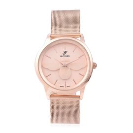 GENOA Japanese Movement Water Resistant Watch with Mesh Strap in Rose Gold Tone Stainless Steel