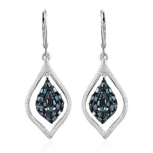 Blue Diamond (Tapered Baguette) Lever Back Earrings in Platinum with Blue Overlay Sterling Silver 0.