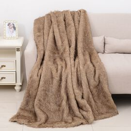 One Time Close Out Deal Deluxe Faux Fur Blanket - Beige Lion (Size 200x150 Cm)