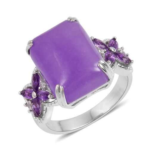 Purple Jade (Oct 13.25 Ct), Amethyst and Natural White Cambodian Zircon Ring in Rhodium Plated Sterling Silver 13.955 Ct.