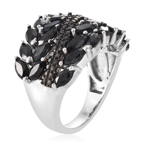 Boi Ploi Black Spinel (Mrq), Black Diamond Ring in Platinum Overlay Sterling Silver 4.750 Ct. Silver wt 6.37 Gms.