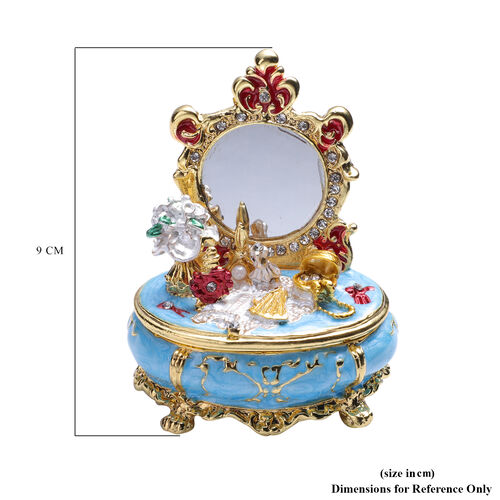 Multi Austrian Crystal Studded Enamelled Mirror Trinket Box