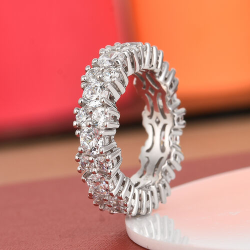 J Francis - Platinum Overlay Sterling Silver Ring Made with SWAROVSKI ZIRCONIA 6.80 Ct, Silver wt. 5.00 Gms