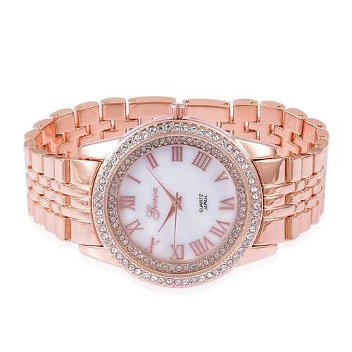GENOA Japanese Movement White MOP Dial with White Austrian Crystal Water Resistant Watch in Rose Gold Tone with Stainless Steel Back
