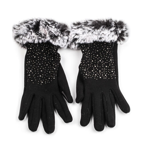 Faux Fur Black Ladies Glove with embellishment (One Size)