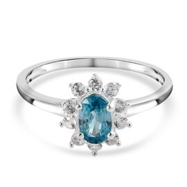 Ratanakiri Blue Zircon and Natural Cambodian Zircon Halo Ring in Sterling Silver 1.00 Ct.